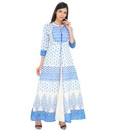 Blue printed art silk ethnic kurtis