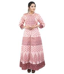Pink printed art silk ethnic kurtis