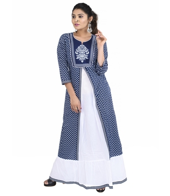 Blue printed cotton ethnic kurtis