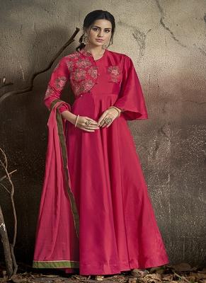 Pink embroidered taffeta salwar