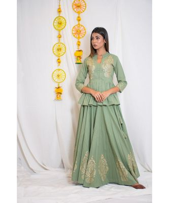 green embroidered cotton stitched kurta sets
