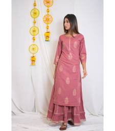pink embroidered cotton stitched embroidered kurtis