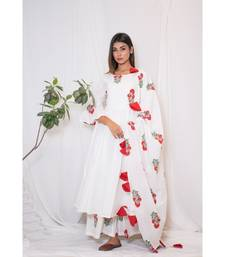 off white embroidered cotton stitched kurta sets
