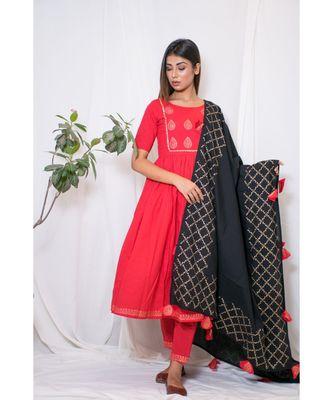 red embroidered cotton stitched kurta sets