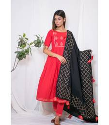 red embroidered cotton stitched kurta sets