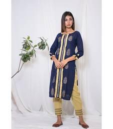 blue embroidered cotton stitched kurta sets