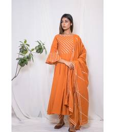 orange embroidered cotton stitched kurta sets