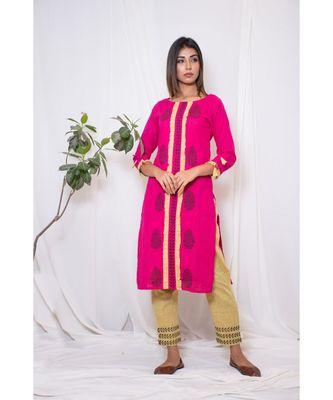 pink embroidered cotton stitched kurta sets