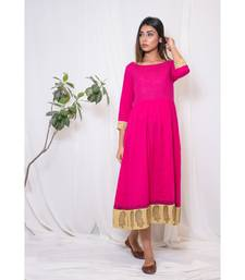 pink embroidered cotton stitched party wear kurtis