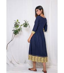 blue embroidered cotton stitched party wear kurtis
