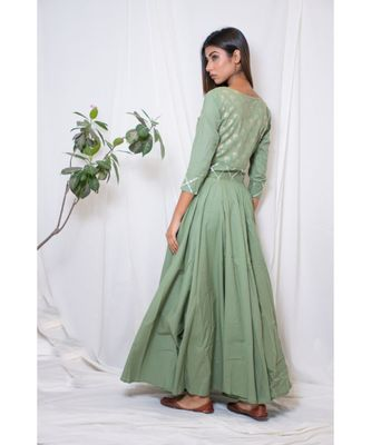 green embroidered cotton stitched party wear kurtis