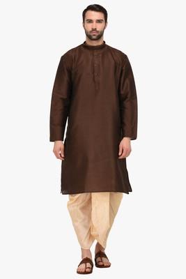 Brown plain  dupion silk dhoti-kurta