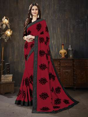 Red Embroidered Silk Georgette saree with blouse