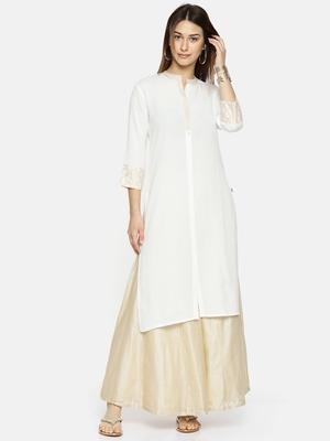 Span Women White Yoke Design Straight Kurta