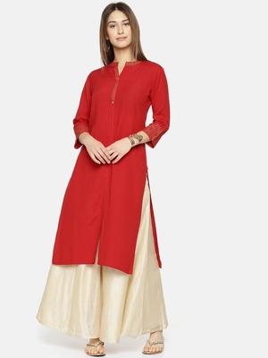 Women Red Yoke Design Straight Kurta