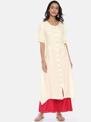 Women Cream-Coloured Solid A-Line Kurta