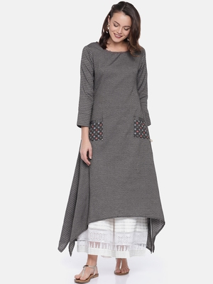 Women Charcoal Grey Woven Design A-Line Kurta