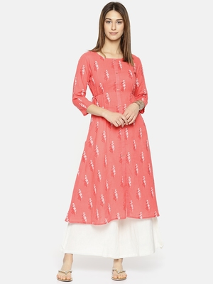 Women Peach-Coloured Printed A-Line Kurta