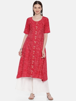 Women Red Printed A-Line Asymmetric Kurta