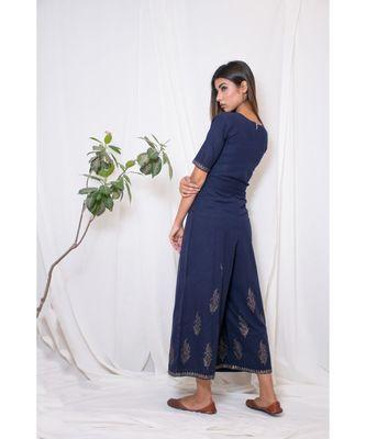 blue plain cotton jumpsuit