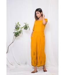 MUSTARD plain cotton jumpsuit