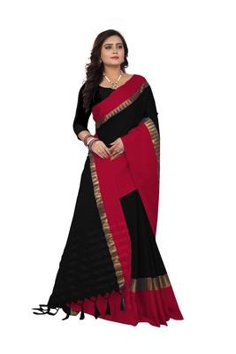black red hand woven banarasi art silk saree with blouse