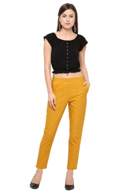Mustard Cotton Solid Casual Wear Trouser