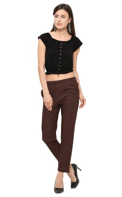 Brown Cotton Solid Casual Wear Trouser