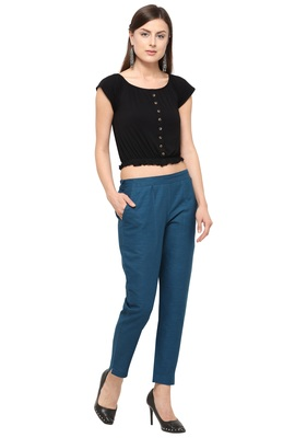 Turquoise Cotton Solid Casual Wear Trouser