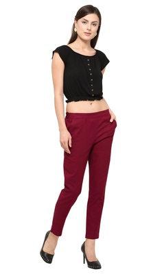 Maroon Cotton Solid Casual Wear Trouser