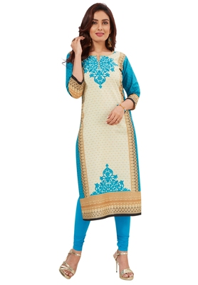 Blue & Cream Pure Cotton Printed Unstitched Kurti Fabric