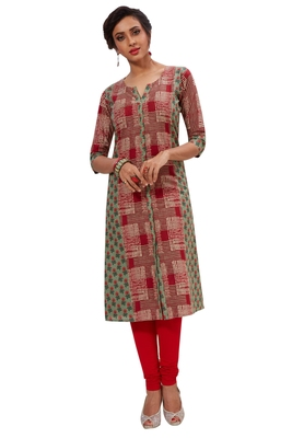Red & Green Pure Cotton Printed Unstitched Kurti Fabric