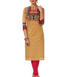 Gold & Red Pure Cotton Printed Unstitched Kurti Fabric