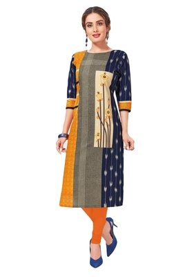 Blue & Yellow Pure Cotton Printed Unstitched Kurti Fabric