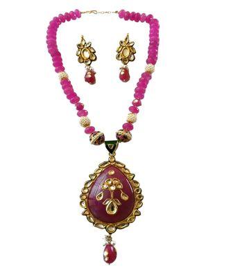 Pink Colour Kundan Work Smart Look Beads Necklace