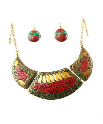 Red Green Nepali Work Necklace For Western Outfit