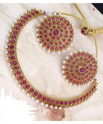 Latest Designer Pink Kempo Pearl Necklace Big Round Tops Earrings Jewelry