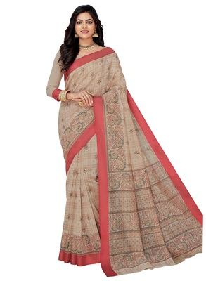 Off white printed cotton saree with blouse
