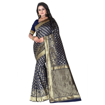 Blue printed banarasi silk blend  saree with blouse