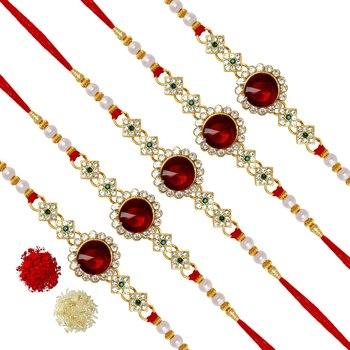 Red Color Combo Of 5 Pieces Kundan Rakhi