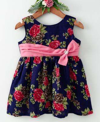 Blue printed blended cotton kids frocks