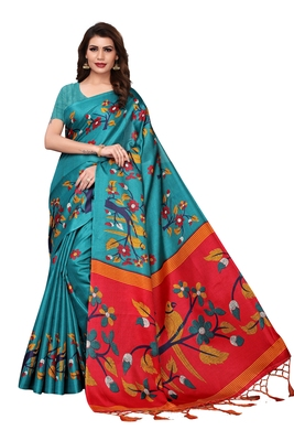 Teal printed khadi saree with blouse