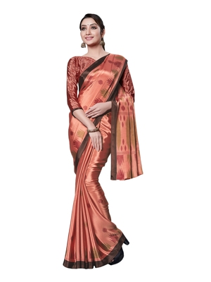 Light brown printed art silk saree with blouse