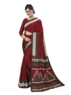 Maroon printed silk blend saree with blouse