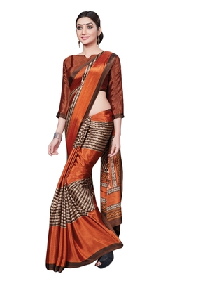 Rust printed art silk saree with blouse