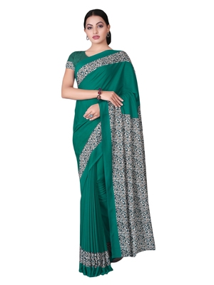 Sea green printed silk blend saree with blouse