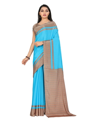 Turquoise printed silk blend saree with blouse