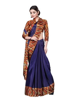 Violet printed art silk saree with blouse