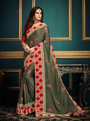 Mehendi embroidered satin saree with blouse