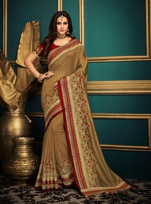 Chiku embroidered satin saree with blouse